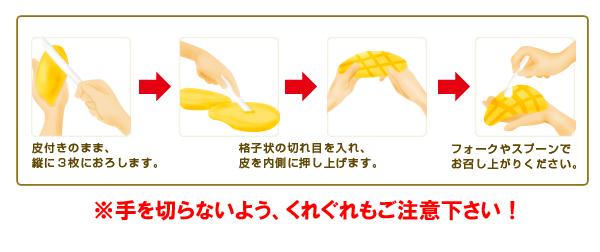 皮付きのまま、縦に3枚におろします。 格子状の切れ目を入れ、皮を内側に押し上げます。 フォークやスプーンでお召し上がりください。 ※手を切らないよう、くれぐれもご注意下さい!